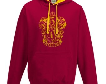 Harry Potter Gryffindor house Quidditch hoodie in burgundy and gold.