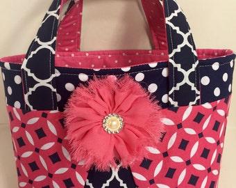 Hot Pink and Navy Blue Scripture Bag/ Bible Bag
