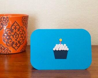 Birthday Notecard - Blue & Dark Blue, Blank and Handmade