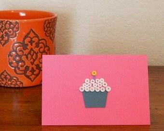 Birthday Notecard - Pink & Gray-Blue, Blank and Handmade