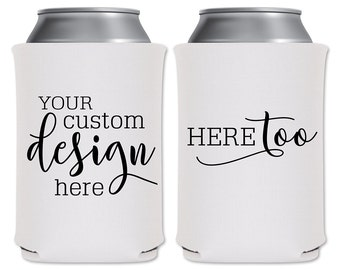 Wedding Can Coolers Beverage Insulators Personalized Wedding Favors | Custom Design | Customized Beer Holders/Can Holders | READ DESCRIPTION