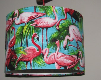 Handmade 30cm drumshade - Flamingos light blue or dark blue fabric.  FREE shipping to mainland UK