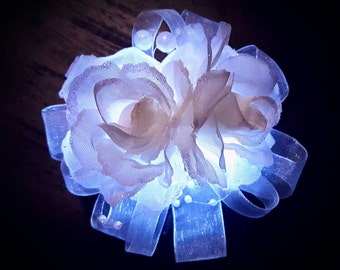 White Rose Light Up LED Wrist Corsage for Weddings and Prom