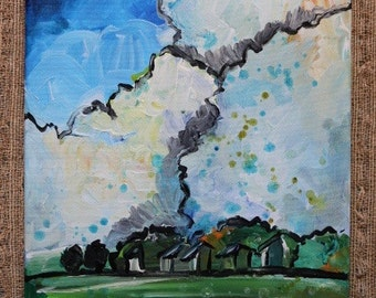 Farm & Clouds Landscape Acrylic by Olivia Rose Art