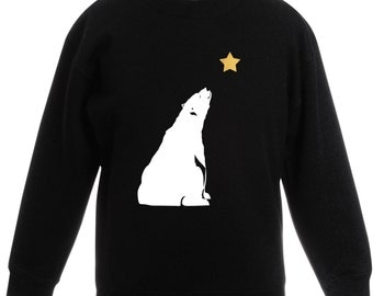 Children's Star Gazing Polar Bear Christmas Jumper / Sweatshirt