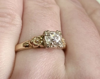 Mine Cut Diamond 14k Yellow Gold Vintage Antique Engagement Ring