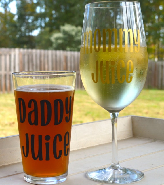 Mommy Juice and Daddy Juice set, mommy wine glass, daddy beer glass, new mom gift, new dad gift, new parents gift, baby shower gag gift