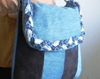 Suede and denim shoulder bag