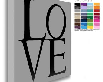 LOVE Canvas Chunky Framed Black Text  (32 Background Colours Available)