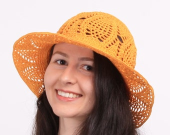 Sun hat womens,Summer hat, Cotton orange hat, Sun lace cotton hat, Cloche hats lady, Beach hats, Suns cloche hats, Suns hats lady.