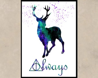 Harry Potter, Stag Patronus, watercolor print,  watercolor painting, aquarelle, colorful, for childrens, (11)