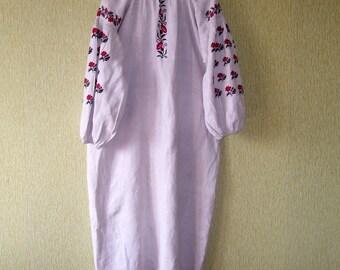 Antique Ukrainian Hemp Shirt Vyshyvanka Hand Embroidered Ukrainian Embroidery Antique Ukrainian Dress