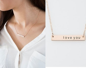 Hand Stamped Rose Gold Bar Necklace, Personalized Gold Bar Necklace,Custom name,Monogram Necklace, Nameplate necklace,Initial necklace,