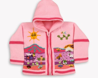 Pink fleece lined knitted cardigan/sweater/jacket/ coat with hand embroidered applications