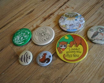 Vintage 1980s Buttons/Pins- Set of 7, Sold Separately