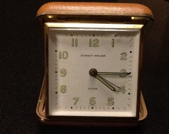 Vintage German travel alarm clock by Phinney-Walker, made in Germany. Vintage travel clock. Pinned-Walker alarm clock.