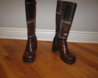 GoGo Boots Brown Patchwork