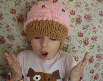 Cupcake hat, Girl Knit Hat, Baby Girl Hat, Knit Beanie Hat, Hand Knitted Hat, Knitted Girl's Hat,Knitted Cupcake hat,Pink Cupcake hat