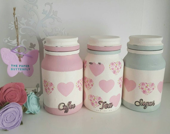 Tea coffee and sugar jars kitchen canisters by sophspaperbutterfly - Pink tea and coffee canisters ...