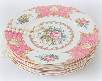 Vintage Royal Albert 'Lady Carlyle' Pastry Plate, Pink Multicolored Flower Design