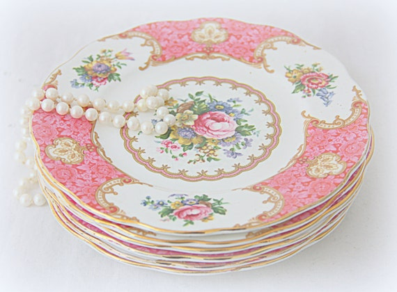 RESERVED FOR JASMINE Vintage Royal Albert 'Lady Carlyle' Pastry Plate, Pink Multicolored Flower Design