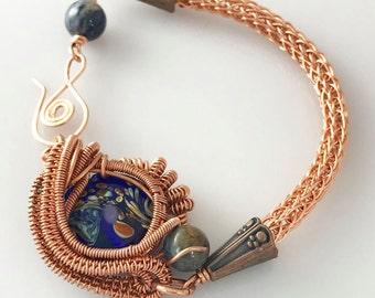Handmade Copper Bracelet with Glass Bead, Lapiz Stones & Viking Knit Chain