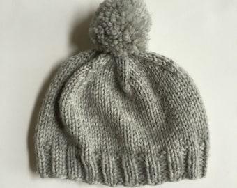 Knit Baby Hat, Merino Wool Baby Beanie, Pom Pom Hat for Newborn, Preemie hat, Basic Baby Beanie
