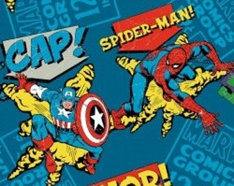 Marvel Comics Superheroes on Turquoise background - by the Half Yard