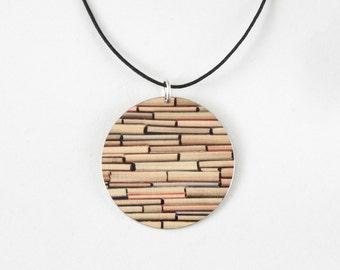 Reversible Graphic Gold Pendant - Gold Necklace - light aluminum