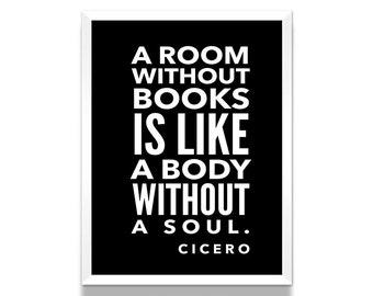 Book Quote, Cicero Poster, Cicero Quote, Black and White Poster, Literature Poster, Literary Print, Literary Gift