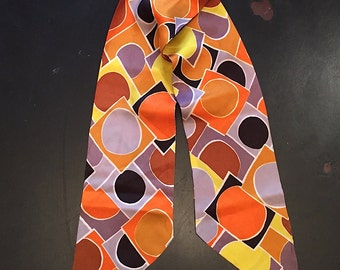 Vintage 1960s Mod Geometric Scarf Head Scarf Multi Colored Retro Boho