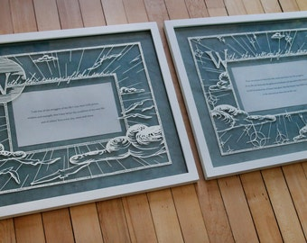 Papercut artwork - Sufi quotes diptych: With the rising/setting of the sun (Inspirational artwork)