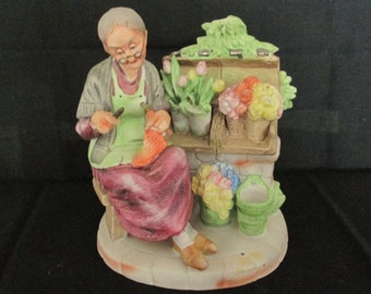 Vintage Lefton Figurine- Grandma Sitting Next To Her Flowers While Knitting