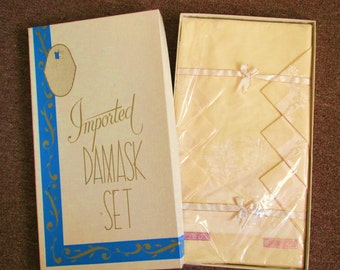 Vintage Yellow Damask Tablecloth with Six Matching Napkins in Original Box 50,s