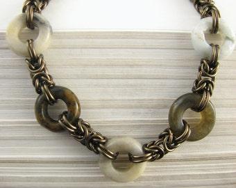 Copper and Stone Byzantine Bracelet