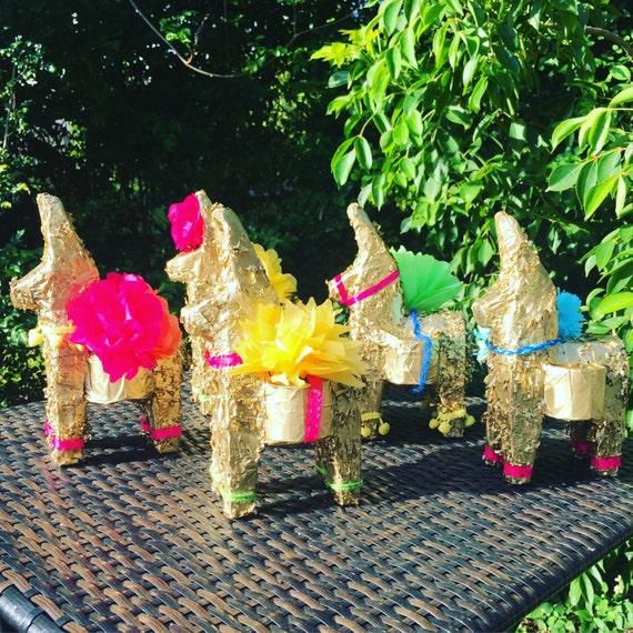4 Mini Gold Donkey And Bull Pinata Mexican Fiesta Decorations