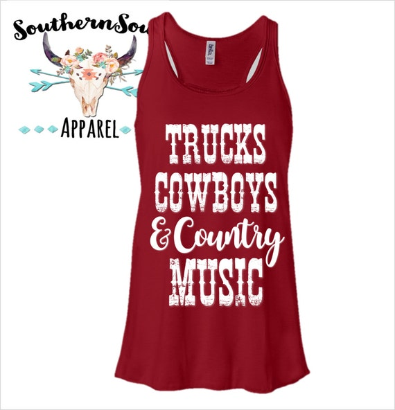 Trucks Cowboys & Country Music  Flowy Racerback Tank Top Country Tank Top, Southern Tank Top, Country Shirt, Country Music