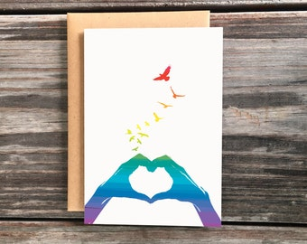 Rainbow Pride Love Greeting Card, Hands in Heart Shape Art Cards