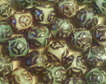 Carved buri nut beads;  very rare and exquisite, carved brown buri nut beads, approximately 11-12mm, 5pcs/5.80.