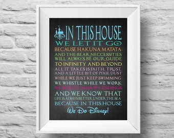 IN THIS HOUSE...chalkboard style Disney inspired unframed art Typographic poster, inspirational print, wall decor, quote art. (R&R0110)