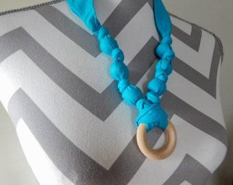 Fabric Teething Ring Necklace - Aqua, Breastfeeding Necklace, Nursing Necklace