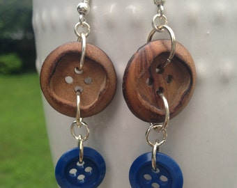 Blue and Wood Button Earrings