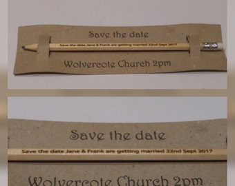 save the date, pencil us in, wedding invitation pencils, alternative invitation, wedding favours - LONG PENCILS 15 + quantity