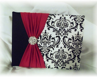 Black and White Madison Damask with Red Wedding Guest Book