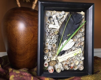 Crow Feather Shadowbox, Hope Shadowbox Art, Goethe Art Assemblage