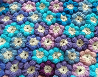 Gorgeous Garden Mollie Flower Puff Blanket. Unique, One of a Kind, Hand Crochet Afghan in Blues, Purples, & Pinks. Almost 5'x5'! Great Gift.