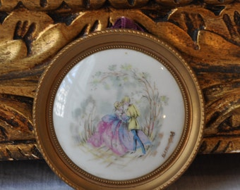 Vintage French Limoges Wall Hanging, Princess Courting Couple, Gold Frame, Porcelain French Decor, Made in France, Paris