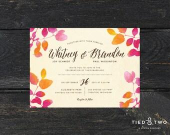 Fall Wedding Invitations, Autumn Wedding Invitations, Leaf Wedding Invitations, DIY Printable PDF, Autumn Fall Wedding, Leaf Invite