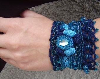 Crochet bracelet, Crochet cuff, Blue crochet cuff, Crystal encrusted cuff, Statement cuff, Crochet lace cuff, Bead embroidered cuff bracelet