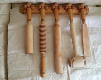 Soviet wooden set for kitchen - 1980s, 6 pieces.